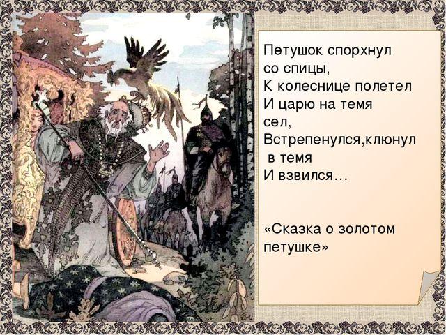 Петушок спорхнул со спицы, К колеснице полетел И царю на темя сел, Встрепену...