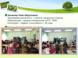 Хасанова Ляля Абдулловна Занимаемая должность – учитель начальных классов. Об