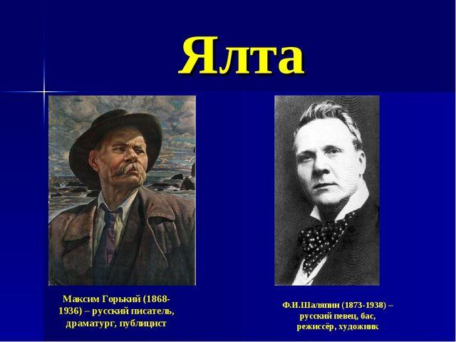 Ялта Максим Горький (1868-1936) – русский писатель, драматург, публицист Ф.И....