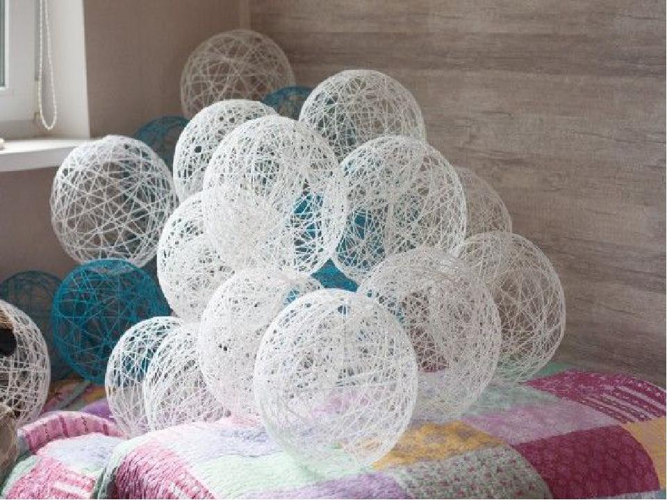 Фото украсить шарами из ниток