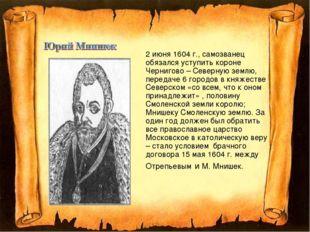 2 июня 1604 г., самозванец обязался уступить короне Чернигово – Северную зе