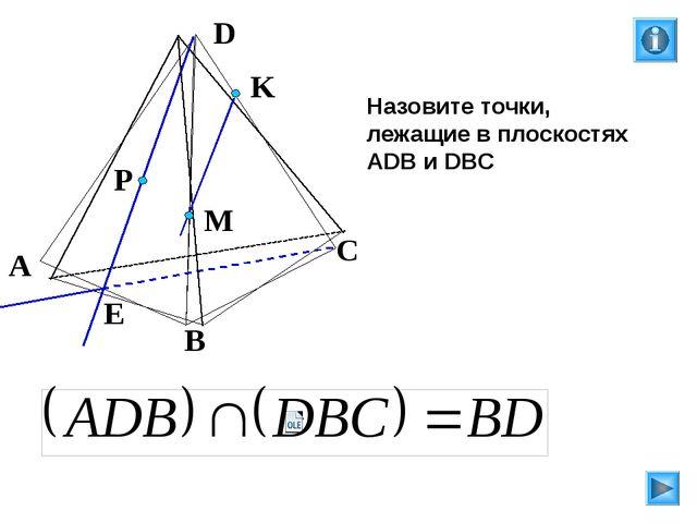Назовите точки, лежащие в плоскостях АDB и DBC P E A B C D M K Л.С. Атанасян...