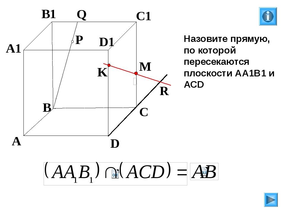 P A B C D A1 B1 C1 D1 R M K Q Назовите прямую, по которой пересекаются плоск...
