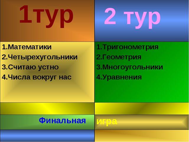 2 тур 1тур 1.Математики 2.Четырехугольники 3.Считаю устно 4.Числа вокруг нас...
