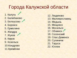 Города Калужской области Калуга Балабаново Белоусово Боровск Ермолино Жизд