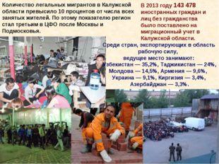 Количество легальных мигрантов в Калужской области превысило 10 процентов от