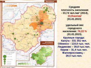 Средняя плотность населения - 33,74 чел./км² (2014), 33,9чел/км² (01.01.2015)