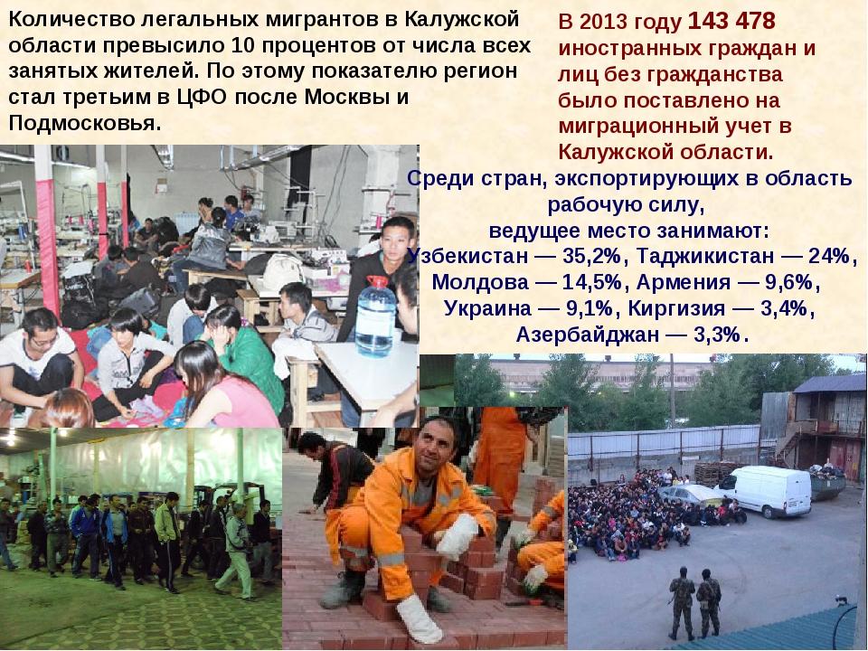Количество легальных мигрантов в Калужской области превысило 10 процентов от...