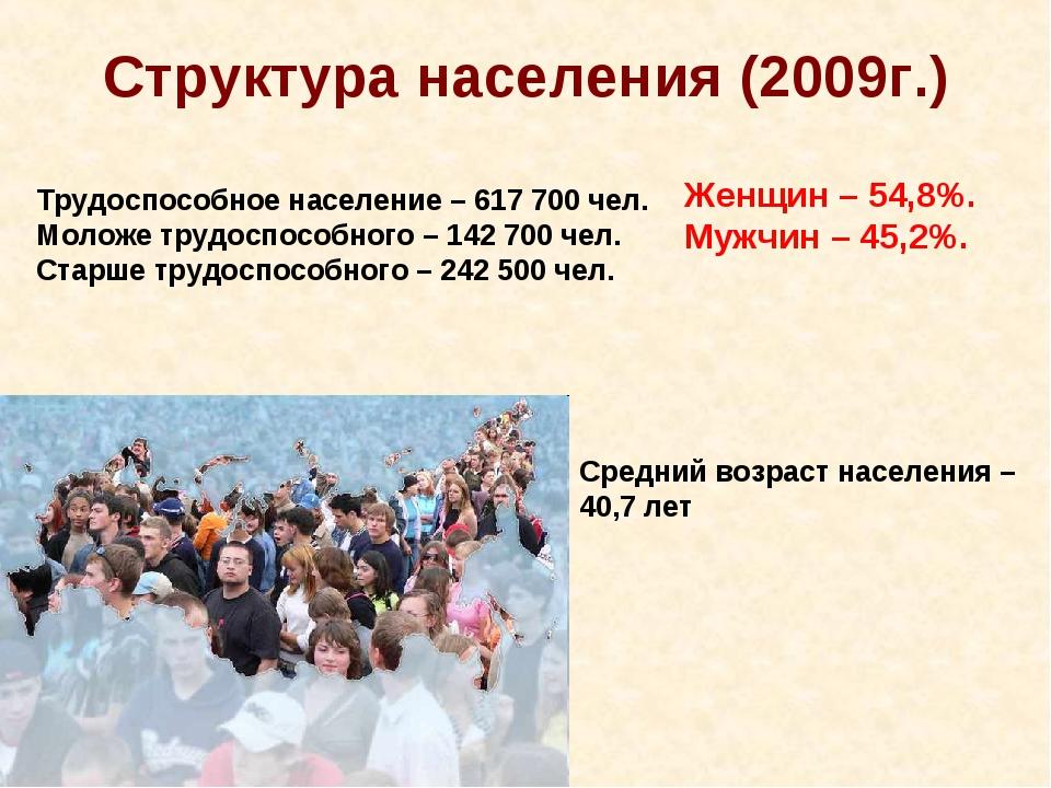 Структура населения (2009г.) Трудоспособное население – 617 700 чел. Моложе т...