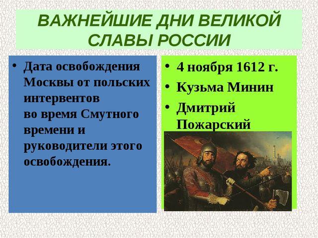 ВАЖНЕЙШИЕ ДНИ ВЕЛИКОЙ СЛАВЫ РОССИИ Дата освобождения Москвы от польских интер...