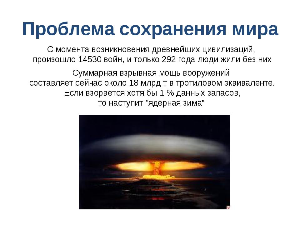 Проблема сохранения мира С момента возникновения древнейших цивилизаций, прои...
