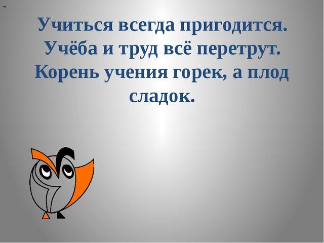 """"""" Учиться всегда пригодится. Учёба и труд всё перетрут. Корень учения горек,..."""