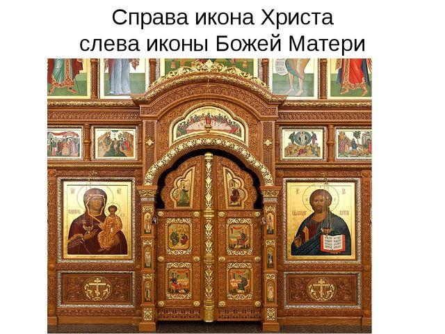 Справа икона Христа слева иконы Божей Матери
