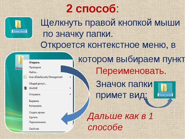 2 способ: Щелкнуть правой кнопкой мыши по значку папки. Откроется контекстное...
