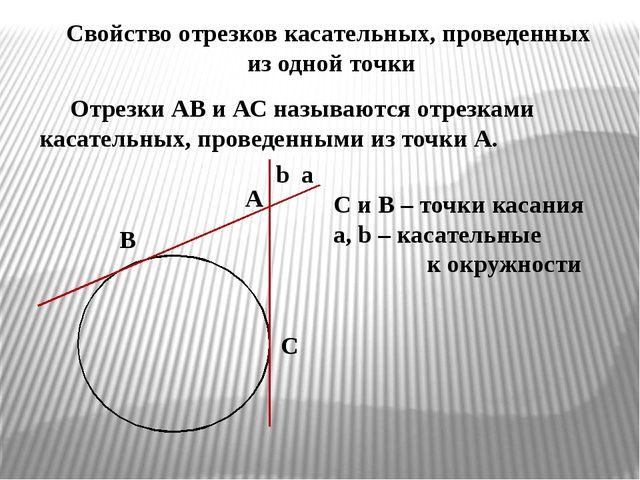 Свойство отрезков касательных, проведенных из одной точки Отрезки АВ и АС наз...