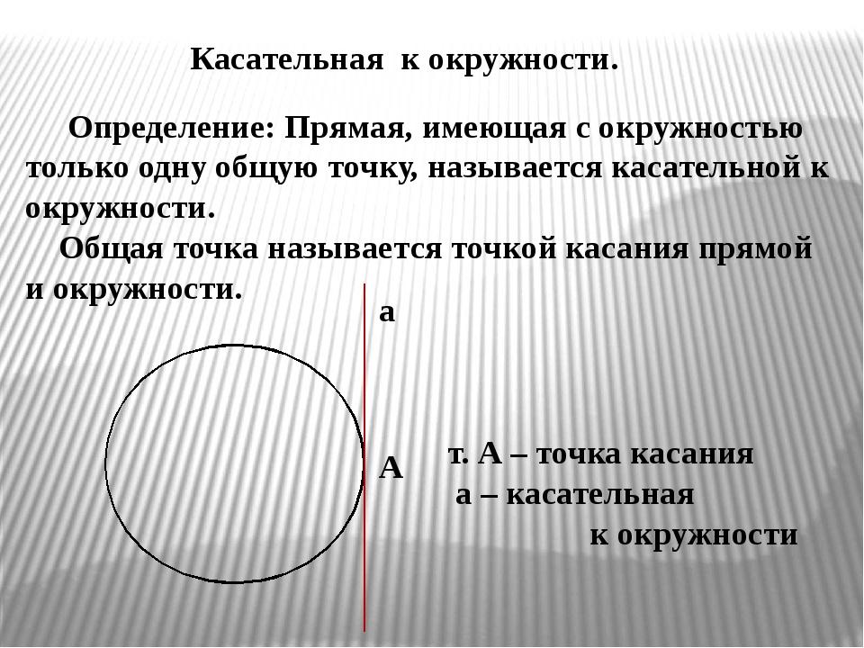 Касательная к окружности. Определение: Прямая, имеющая с окружностью только...