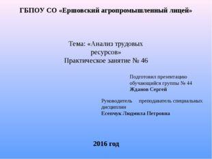 ГБПОУ СО «Ершовский агропромышленный лицей» Тема: «Анализ трудовых ресурсов»