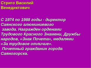 Стриго Василий Венедиктович С 1974 по 1988 годы - директор Саянского алюминие