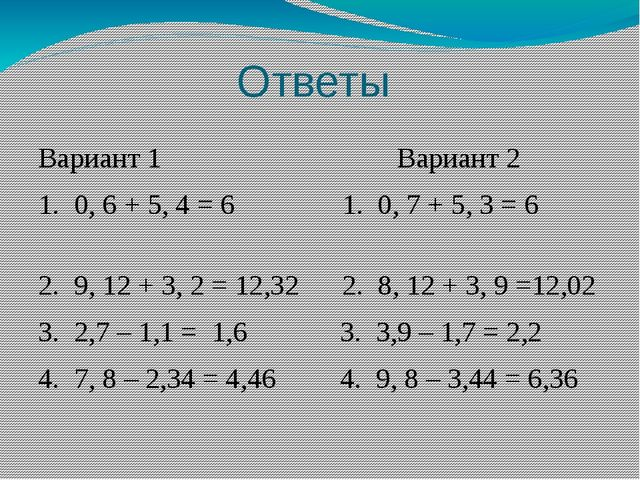 Ответы Вариант 1 Вариант 2 1. 0, 6 + 5, 4 = 6 1. 0, 7 + 5, 3 = 6 2. 9, 12 + 3...