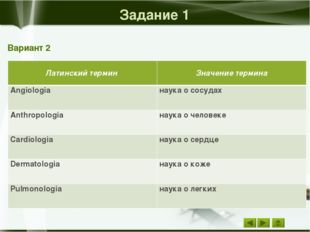 Задание 2 Вариант 2 Значение термина Русский термин Воспаление уха отит Хрон