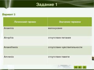 Задание 2 Вариант 3 Значение термина Русский термин Мышечная опухоль миома В