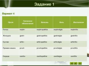 Задание 2 Вариант 4 Значение термина Русский термин Воспаление предстательно