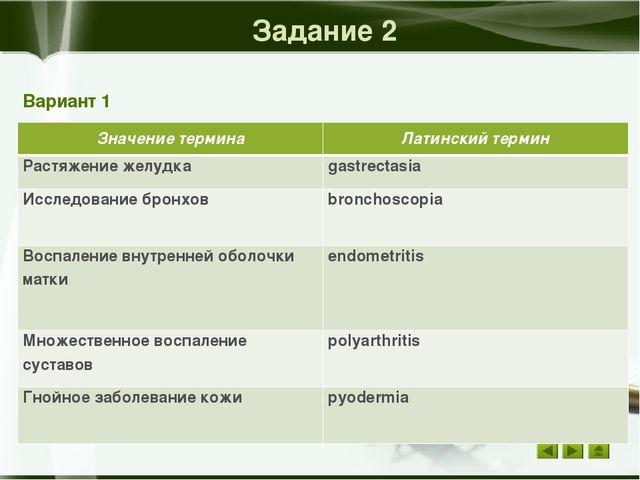 Задание 1 Вариант 2 Латинский термин Значение термина Angiologia наука о сос...