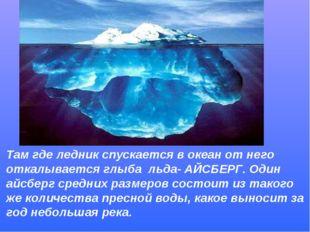 Там где ледник спускается в океан от него откалывается глыба льда- АЙСБЕРГ. О