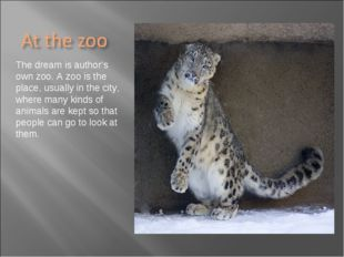 The dream is author's own zoo. A zoo is the place, usually in the city, where
