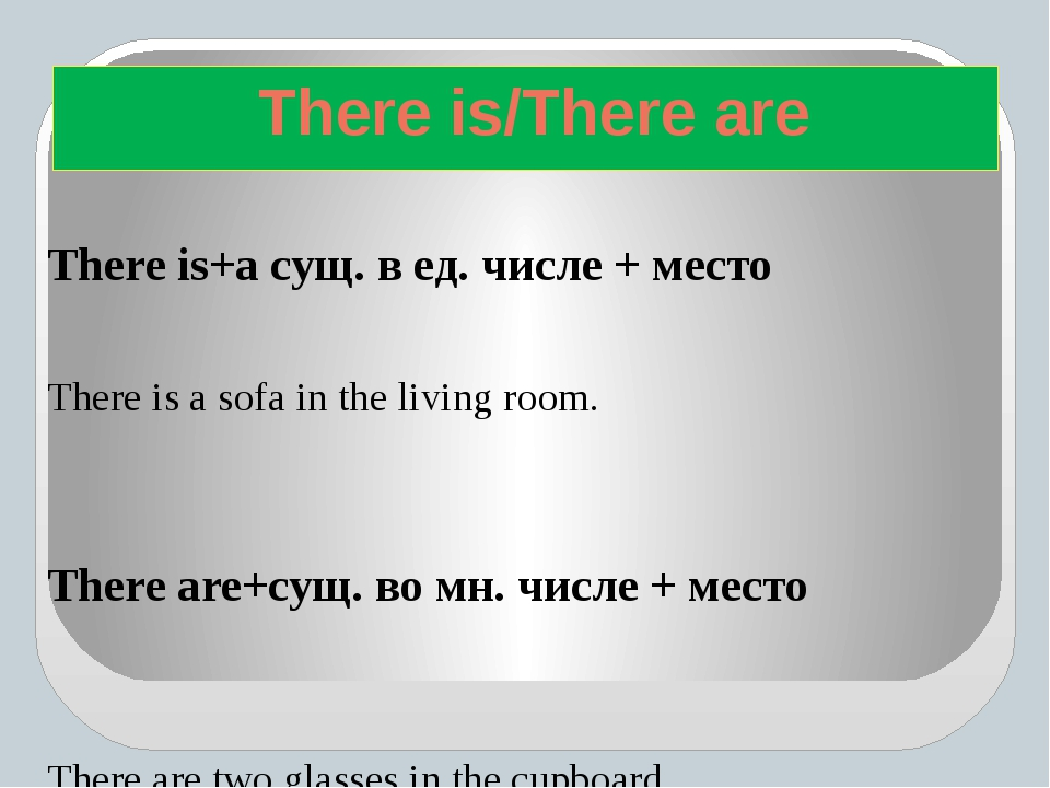 There is+а сущ. в ед. числе + место There is a sofa in the living room. Ther...