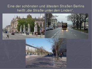 """Eine der schönsten und ältesten Straßen Berlins heißt """"die Straße unter den"""