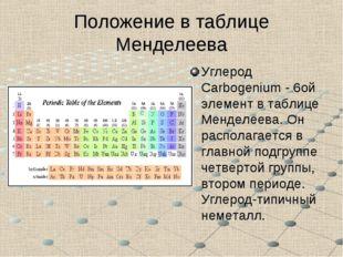 Положение в таблице Менделеева Углерод Carbogenium - 6ой элемент в таблице Ме