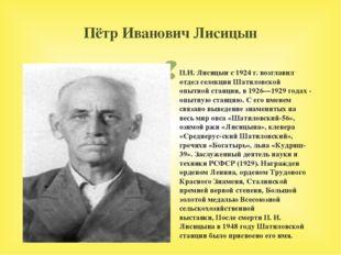 Пётр Иванович Лисицын П.И. Лисицын с 1924 г. возглавил отдел селекции Шатилов