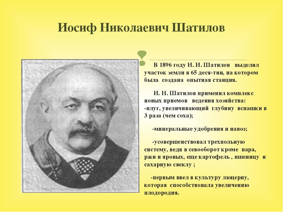 Иосиф Николаевич Шатилов В 1896 году И. И. Шатилов выделил участок земли в 65...