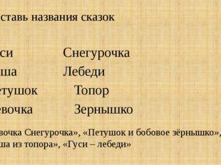 Составь названия сказок ГусиСнегурочка КашаЛебеди ПетушокТопор