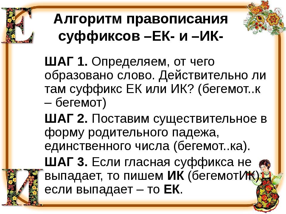 Алгоритм правописания суффиксов –ЕК- и –ИК- ШАГ 1. Определяем, от чего образо...