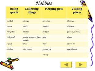 Hobbies Doing sports 	Collecting things 	Keeping pets 	Visiting places footba