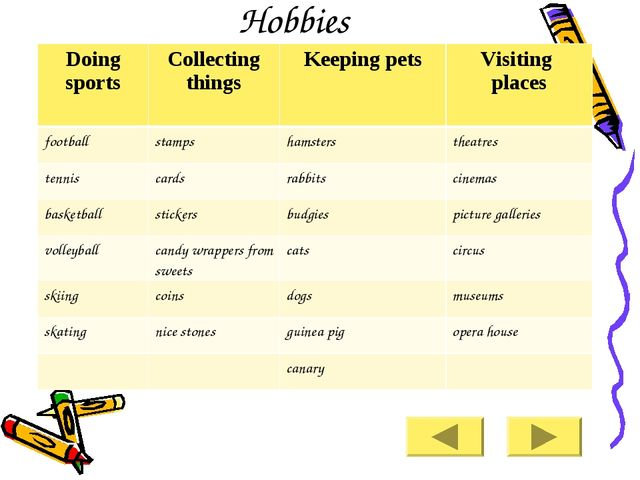Hobbies Doing sports 	Collecting things 	Keeping pets 	Visiting places footba...