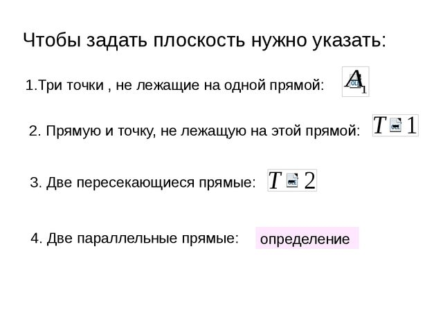 Чтобы задать плоскость нужно указать: 1.Три точки , не лежащие на одной прямо...