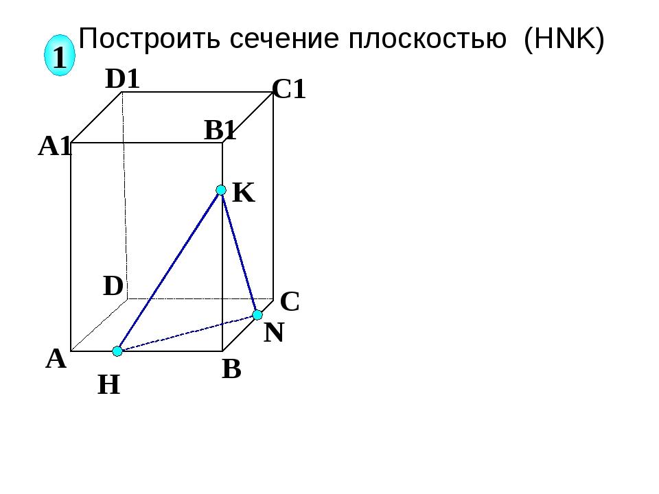 А В С D А1 D1 С1 B1 N H K 1 Построить сечение плоскостью (HNK) Соединяем отр...