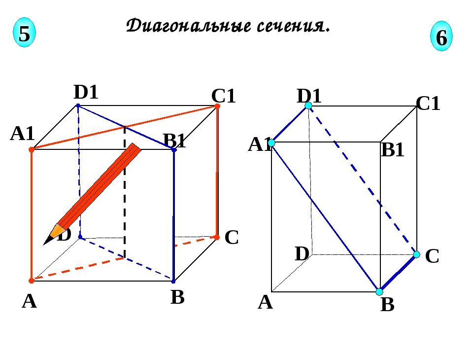 А В С D А1 D1 С1 B1 Диагональные сечения. 5 6 А В С D А1 D1 С1 B1 Соединяем...