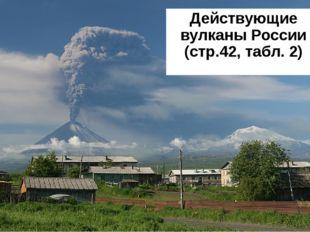 Действующие вулканы России (стр.42, табл. 2)