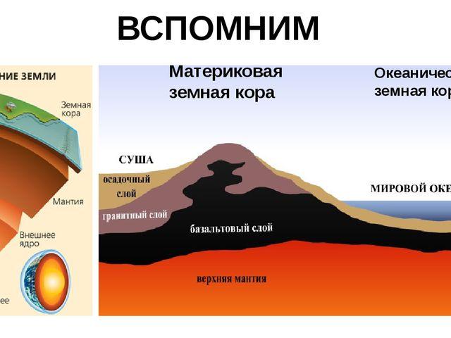 Материковая земная кора Океаническая земная кора ВСПОМНИМ