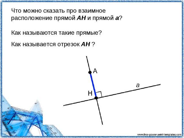Что можно сказать про взаимное расположение прямой АН и прямой а? Как называю...