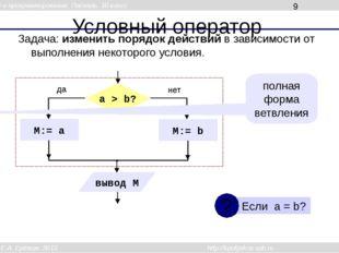 Условный оператор Задача: изменить порядок действий в зависимости от выполнен
