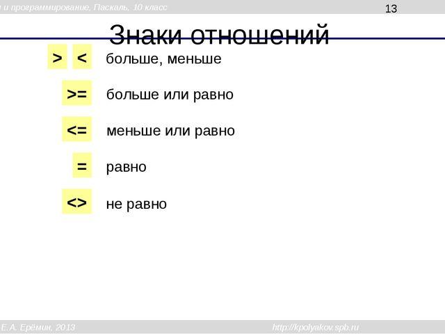 Знаки отношений > < >=