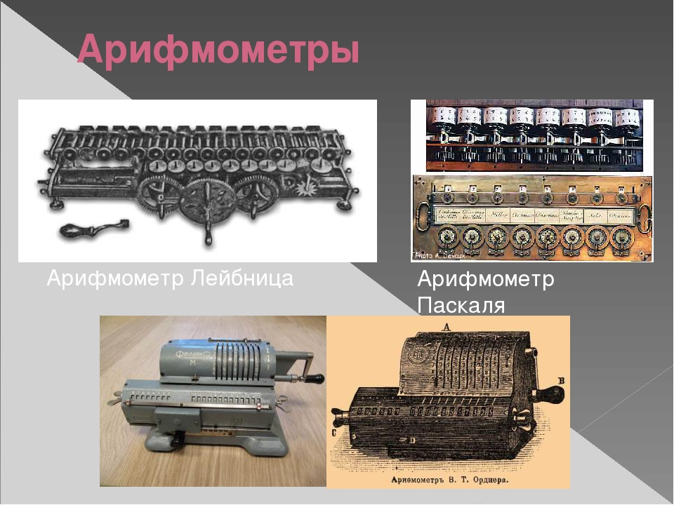 Арифмометры Арифмометр Лейбница Арифмометр Паскаля