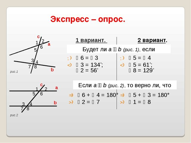 Экспресс – опрос. 2 вариант. 1 вариант. Будет ли a ׀׀ b (рис. 1), если 6 =...
