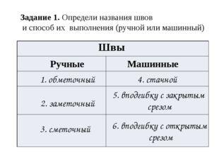 Задание 1. Определи названия швов и способ их выполнения (ручной или машинный