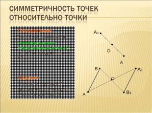 Определение Точки A и A1 называются симметричными относительно точки О, если
